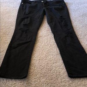 Black distressed Bebe skinny jeans !